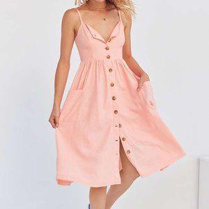 Urban Outfitters Pink Midi Dress W/ Pockets